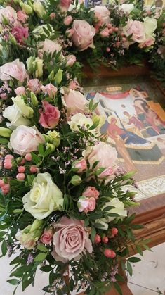 Large Flower Arrangements, Jesus Art, Church Flowers, Orthodox Icons, Flower Decorations, Funeral, Event Design, White Flowers, Holi