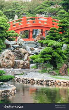 The Red Bridge in Nan Lian Garden, Hong Kong, China.