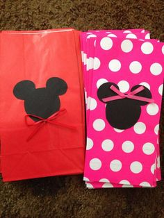 Mickey Mouse and Minnie Mouse goodie bags I made for my daughter's first…