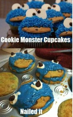 Nailed It - How To Bake Cookie Monster Cupcakes - Cooking Fail  ---- best hilarious jokes funny pictures walmart humor fail