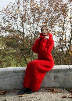 Red Chunky Longhair mohair sweater dress M  T-neck removable by LanaKnittings #Handmade #TurtleneckMock