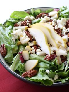 A salad for special occasions, this Pear, Pecan and Blue Cheese salad is simple and drizzled with a tangy Dijon Vinaigrette.
