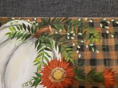 Fall Canvas Painting, Autumn Painting, Autumn Art, Fall Paintings, Canvas Art, Fall Wood Signs, Wooden Signs, Daisy Art, Fall Crafts
