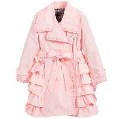 LE CHIC SS 2016 Le Chic Girls Pink Trench Coat with Ruffles at Childrensalon.com