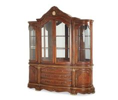 3 Drawers Glass Shelves Honey Walnut Finish Bronze Feet China Cabinet Top Buffet