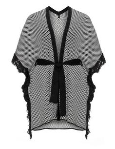 Yoek Fringed fine-knit cape in Black / White