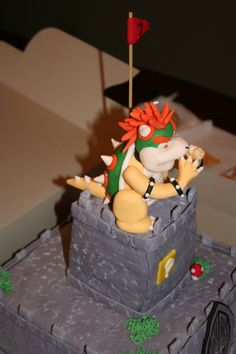 Bowser side view, hand sculpted out of homemade fondant.