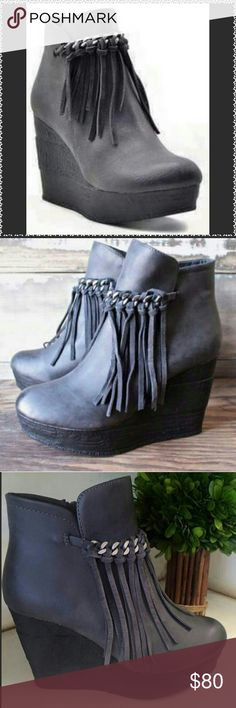 """Sbicca """"ZEPP"""" Bootie from the Vintage Collection This gray wedge bootie comes from the vintage collection. They feature a chain and fringe detail for vintage appeal. 4"""" heel, 1"""" platform, 6"""" boot shaft, interior side-zip closure, padded insole, synthetic upper( genuine suede fringe detail), lining and sole. No PayPal, Trades or Low Balling Price Firm unless bundled. Bundle and save 10% on 2 or more items! Sbicca Shoes Ankle Boots & Booties"""