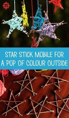 Star Stick Mobile For A Pop Of Colour Outside Gather some twigs and sticks, grab a few balls of coulourful yarn and get crafting on this fun and easy-to-make mobile that's also a great fine-motor workout for the kids. Yarn Crafts For Kids, Twig Crafts, Nature Crafts, Craft Stick Crafts, Projects For Kids, Craft Projects, Craft Sticks, Summer Crafts, Fall Crafts