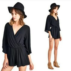 NEW! Gorgeous Black Wide Sleeve Romper This is my absolute favorite romper right now!  Contemporary Style   Black Romper Elastic Waistband  Poly Blend  Made in the U.S.A  Sizes S-M-L   ▪ Price is Firm  ▪ No Trades  ▪ Fast Shipping IT Ragazza  Shorts