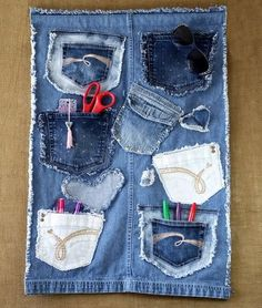 $25.00 USD Denim Wall Organizer Handmade from Recycled Blue Jean Denim with Lots of Pockets, Decorative Embellishments, Frayed Edges, Small Rod Pocket