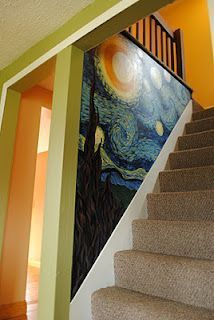 Van Gogh Starry Night painted on stairwell that is so cool! I wonder if you cou. , Van Gogh Starry Night painted on stairwell that is so cool! I wonder if you could cheat and get one of the wall stickers and cut it to do the same thing? Home Beach, Painted Stairs, Painted Wall Murals, Hand Painted Walls, Wall Art, Deco Design, Design Design, Interior Design, Stairways