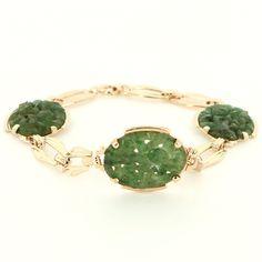 Vintage Estate Jade Flower 14k Gold Bracelet - Bracelet, Estate, Flower, Gold, Jade, Vintage