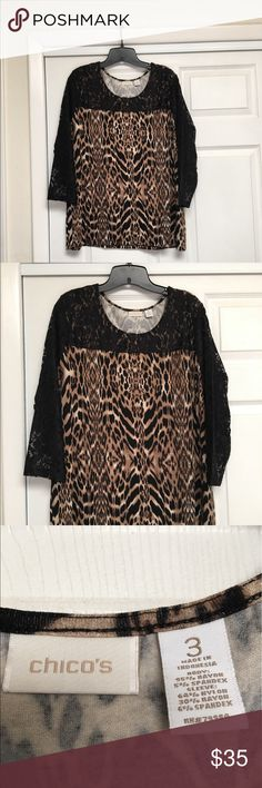 Chico's Leopard Print/Black Lace Top Elegant leopard print and black lace tunic.  Soft and feminine.  Only worn a few times and in excellent condition.  Please see Chico's sizing chart in photos. Chico's Tops Tunics