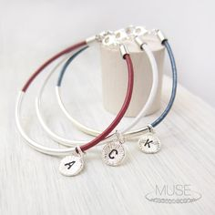 Personalized Initial Charm Bracelet  Silver Bar by MuseByLAM, $24.00