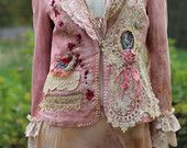 Rococo jacket - extravagant  reworked linen jacket, wearable art, hand embroidered and beaded details,