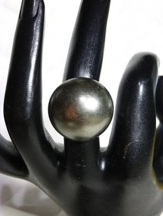 Gunmetal Grey Pearl Dome Ring