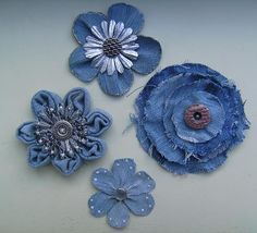 Best 12 This listing is for 6 upcycled denim flowers. Choose from 2 and inches, 3 inches, or 4 inches. Denim Flowers, Cloth Flowers, Fabric Flowers, Flower Jeans, Blue Flowers, Jean Crafts, Denim Crafts, Fabric Crafts, Sewing Crafts