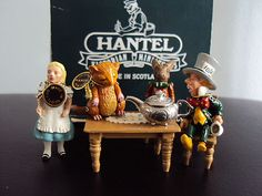 HANTEL MINIATURE PEWTER MAD HATTERS TEA PARTY SET ALICE IN WONDERLAND BOXED