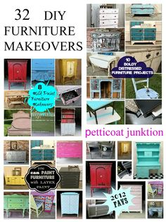 32 DIY Furniture Makeovers, 32 different looks, 32 painted furniture ideas