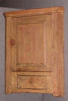 Hanging Corner Cupboard, 3 Shelves, 1 Drawer, Orig