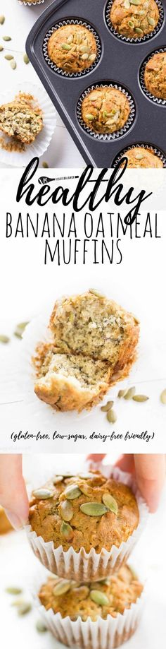 Healthy Banana Oatmeal Muffins are the perfect start to every day. Mix bake and serve up flavorful amazingness! (Gluten-Free Healthy Low-Sugar Dairy-Free friendly) via Veggie Balance Healthy Muffin Recipes, Healthy Muffins, Breakfast Recipes, Breakfast Ideas, Healthy Snacks, Gluten Free Muffins, Gluten Free Baking, Best Gluten Free Recipes, Easy Recipes