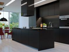 kücheneinrichtung und kücheninsel in schwarz