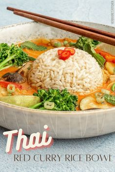Here's a warm red curry recipe to keep you cozy as fall approaches. This vegan red curry bowl is served with brown rice and packed with healthy vegetables like broccolini, shiitake mushrooms and red peppers. The thick sauce is spicy and comforting with hints of ginger, lime and coconut. Eating vegan never tasted so good! #redcurry #thairedcurry #redcurryrecipe #veganredcurry #easyredcurry