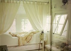 white bed curtains