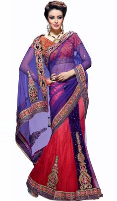 #Sarees - Purple & Red Embroidered Net Lehenga Saree Costs Rs. 7,011. #Apparels. BUY it here: http://www.artisangilt.com/sarees-saris/net-sarees/purple-red-embroidered-net-lehenga-saree-16170.html?ref=pin