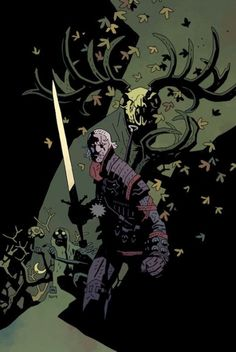 I'm fairly certain that this is the Witcher, it's just a bit unfamiliar in the Hellboy artstyle