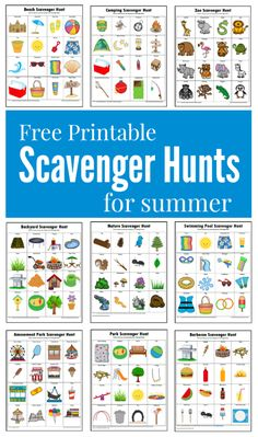 Free printable fun filled summer themed scavenger hunts for kids Beach Scavenger Hunts, Toddler Scavenger Hunt, Outdoor Scavenger Hunts, Preschool Scavenger Hunt, Nature Scavenger Hunts, Kids Outdoor Activities, Camping Activites For Kids, Free Activities For Kids, Summer Themes For Preschool