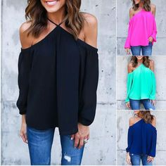 I love these tops.CELMIA Blusas Women Off Shoulder Sexy Chiffon Tops Ladies Halter Loose Blouse Long Sleeve Casual Solid Shirts Plus Size Shoulder Shirts, Off Shoulder Tops, Cold Shoulder, Shoulder Sleeve, Chiffon Shirt, Chiffon Tops, Chiffon Blouses, Women's Blouses, Sleeveless Shirt