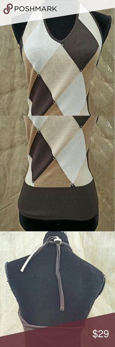 The Limited halter top silk/cotton/cashmere Gorgeous argyle sweater halter The Limited Tops