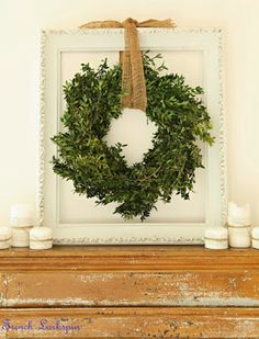 DIY faux Boxwood Wreath...Now I know what to use my white frame for!