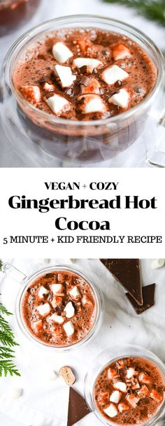 This Vegan Gingerbread Hot Cocoa is cozy, warm and spicy- the perfect warm drink for cold winter days! And it only requires 5 minutes to make. Top this hot chocolate with vegan marshmallows and shaved chocolate for a café experience. #vegan #hotchocolate #glutenfree #glutenfreevegan #vegandrinks #veganchocolaterecipes #gingerbread #gingerbreadhotchocolate #hotcocoa #winterdrinks #easyveganrecipes #5minuterecipe #dessert #dessertdrinks #vegandessert Easy Holiday Recipes, Easy Drink Recipes, Winter Recipes, Vegan Recipes Easy, Whole Food Recipes, Christmas Recipes, Healthy Vegan Desserts, Vegan Dessert Recipes, Snack Recipes