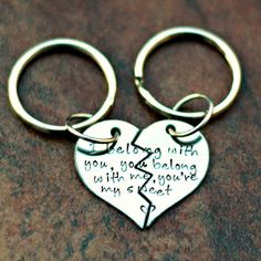 Couples Keychain  Hand Stamped Keychain  by YourSentimentsInc, $21.00