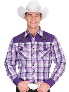 33935 Camisa Vaquera Caballero El General, 55% Cotton 45% Polyester - Purple Checker