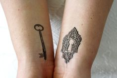 A perfect tattoo for couples: a key and a lock. ................................................................................................................ WHAT YOU GET: This listing is for a set