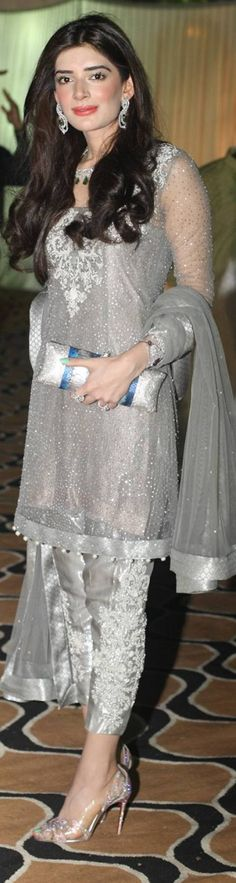 The Mischa Barton lookalike looks elegant as ever in a silver Elan outfit, accessorized with stunning bling and en trend transparent Loubs. Pakistani Couture, Pakistani Outfits, Indian Outfits, Pakistani Clothing, Pakistani Bridal, Indian Bridal, Patiala, Churidar, Salwar Kameez