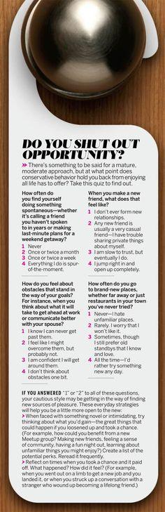Quiz: Do You Shut Out Opportunity?   Health.com