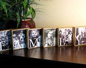 RESIN Sealed CUSTOM Decorative Photo and Word Wood Blocks - Family - Set of 6 - Gifts for Mom, Dad, Grandparents ETC