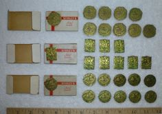 27 Vintage Metal Christmas Bells Seals Stickers, Stanley Mfg. Co.