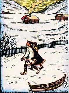 To - Guoktes (farger) - John Andreas Savio - John Savio Lappland, Scandinavian Folk Art, Arctic Circle, Christmas Books, Woodblock Print, Edvard Munch, Norway, Art Projects, Medieval