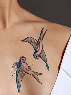 Just as the swallows always return to San Juan Capistrano, the swallow tattoo symbolizes a return.This classic tattoo design is sized with both birds as shown, but they will arrive cut separately so t