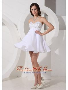 Beaded Decorate Sweetheart Neckline Chiffon Mini-length 2013 Prom / Homecoming Dress  http://www.fashionos.com  http://www.facebook.com/quinceaneradress.fashionos.us   Dramatic and magnificent!The beading bodice shows your figure.This white short prom dress is highlighted with the layers.The skirt flowing freely with the breeze.