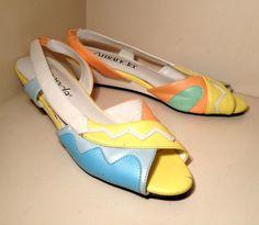 Open toe Pastel shebert yellow peach mint blue aztec abstract  Print Wedges sandals Slingbacks Heels Flats shoes 80s 90s  7/6.5. $18.00, via Etsy.