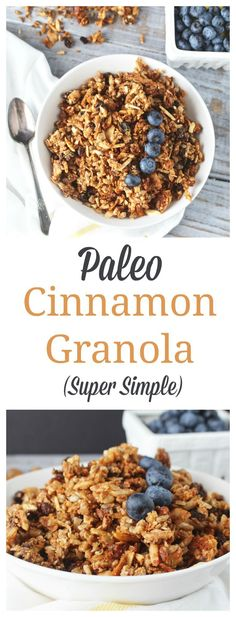 **Substitute peanuts etc for any almond allergies- Paleo Cinnamon Granola- healthy grain-free granola. 30 minutes start to finish and addictively good! Gluten free, dairy free, and so easy! Paleo Dessert, Paleo Sweets, Dessert Recipes, Dieta Paleo, Paleo Diet, Diet Foods, Paleo Recipes, Whole Food Recipes, Freezer Recipes
