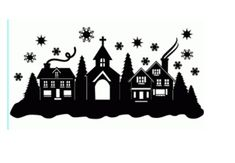 Silhouette Design Store: Christmas Town Snow Scene - New Ideas Christmas Town, Noel Christmas, Christmas Projects, All Things Christmas, Holiday Crafts, Christmas Ornaments, Christmas Stencils, Christmas Design, Silhouette Design