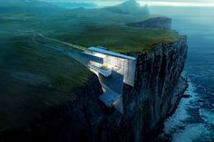 This daring concrete retreat carved into the cliffside in Iceland looks like a natural extension of the rough landscape. Architect and artist Alex Hogrefe designed the building as a reflection of the country's craggy glaciers with enviable ocean views. Amazing Architecture, Interior Architecture, Concrete Architecture, Architecture Life, Architecture Panel, Architecture Portfolio, Historical Architecture, Residential Architecture, Contemporary Architecture